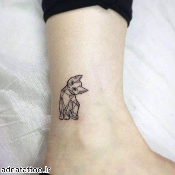 مدل تاتو گربه کوچک روی پا