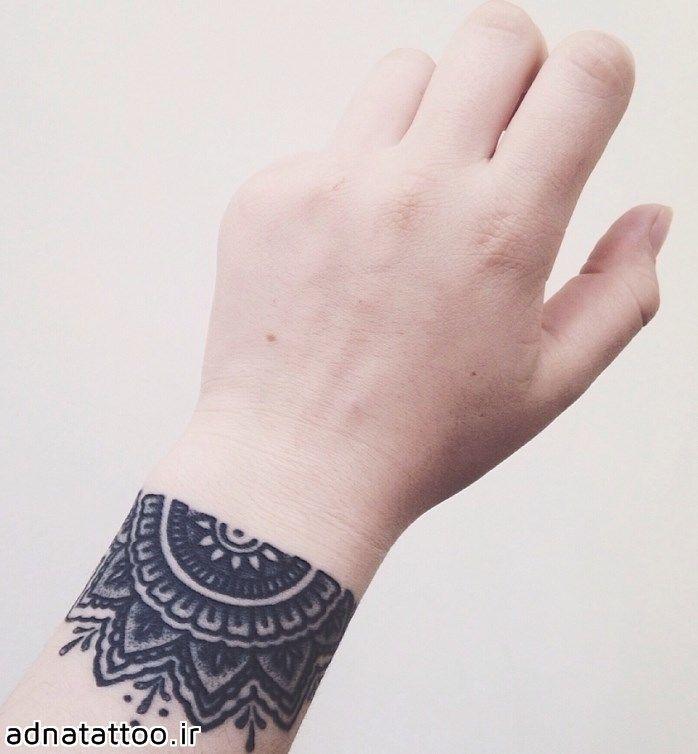 مدل تاتو مائوری مشکی روی ساعد دست