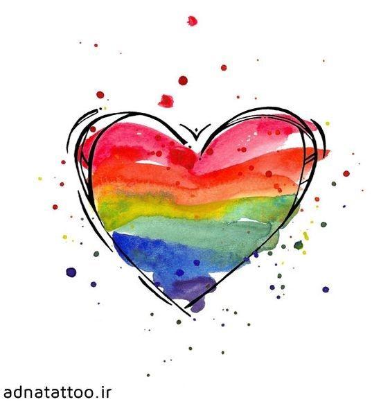 تاتو رنگین کمان قلب رنگی