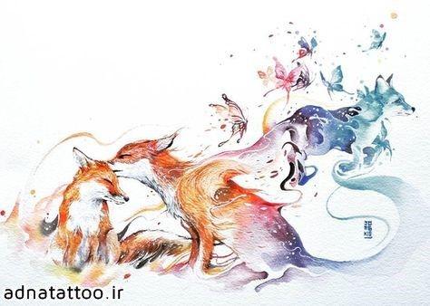 تاتو روباه رنگی