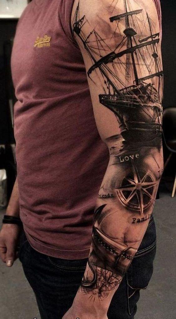 تاتو کشتی روی دست بازو فول هند