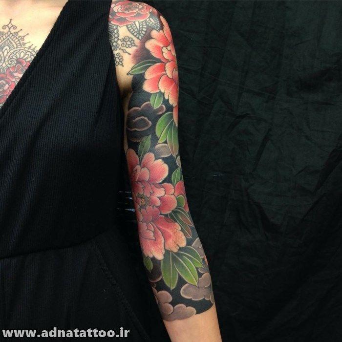 طرح گل روی دست و بازو