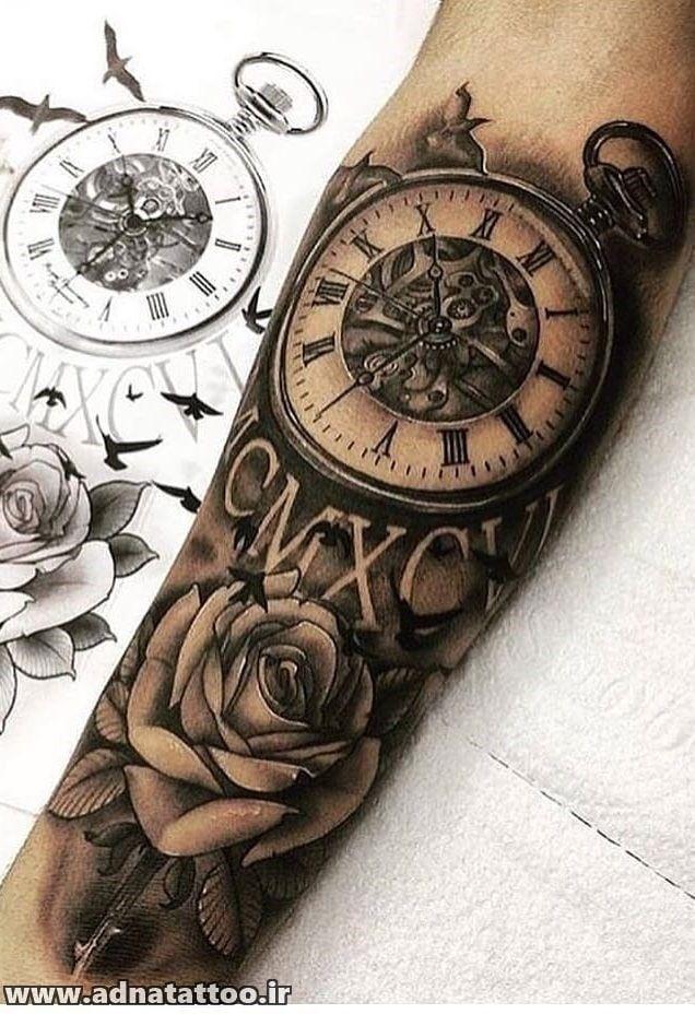 تاتو ساعت و گل روی دست